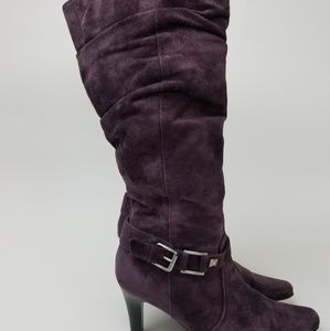 White Mountain Women's Purple Suede Heeled Boots